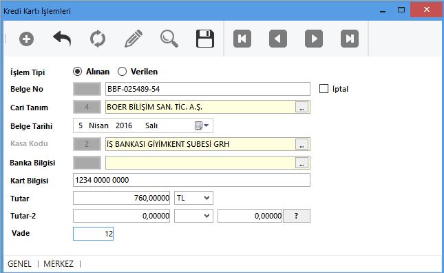 SmartPlus Finans Ön Muhasebe Yönetim Sistemi Kredi Kartları