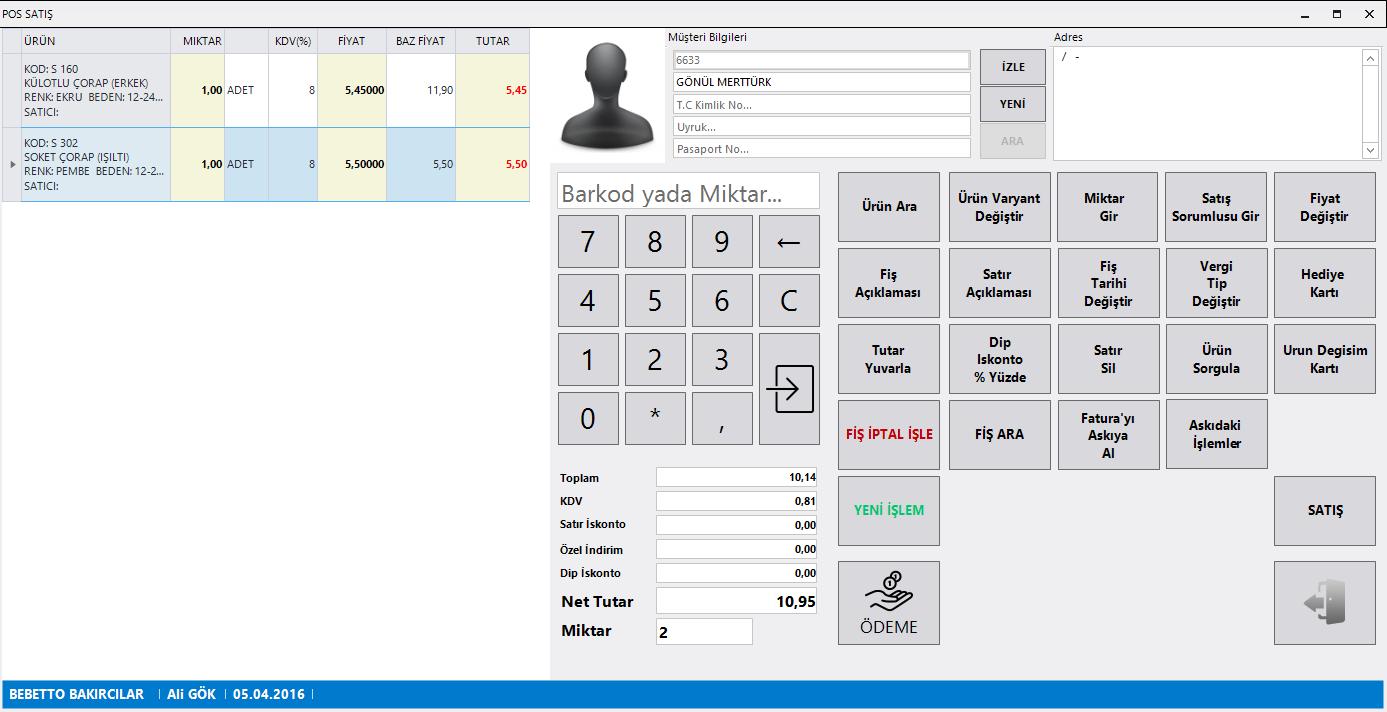 Parakende Satış Sistemi Pos Ekranı