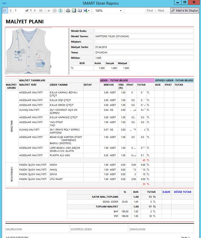 SmartPlus Kurumsal Yönetim Sistemi Raporlama Yönetimi Maliyet Raporu